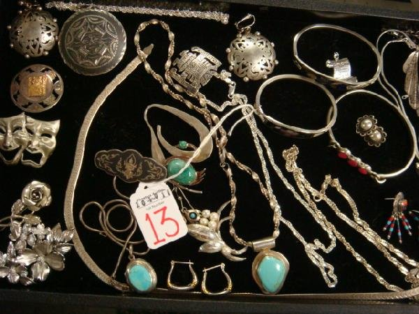 13: Sterling Silver and Turquoise Jewelry: