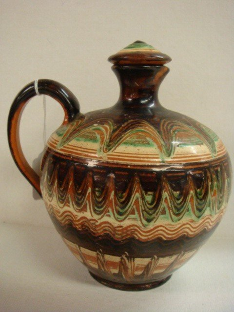 15: Handpainted Polish Red Clay Jug with Stopper: