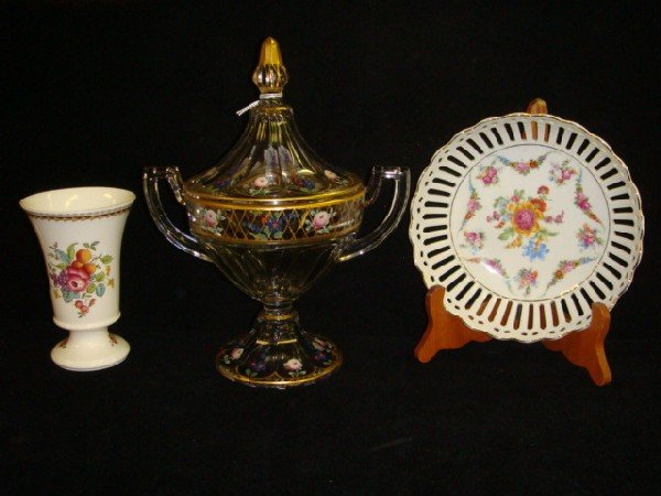 17: Handpainted Glass Pokal, SPODE Vase, German Bowl: