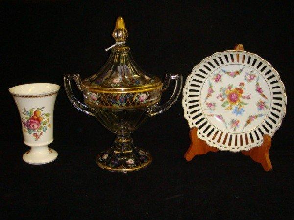 17: Handpainted Glass Pokal, SPODE Vase, German Bowl: