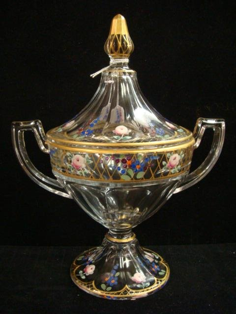 17: Handpainted Glass Pokal, SPODE Vase, German Bowl: - 2