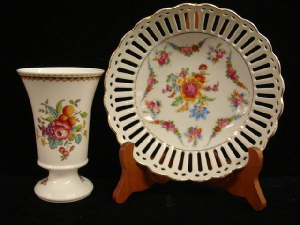 17: Handpainted Glass Pokal, SPODE Vase, German Bowl: - 3