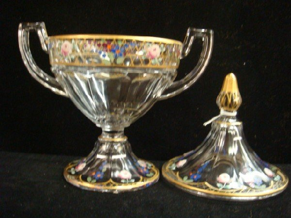 17: Handpainted Glass Pokal, SPODE Vase, German Bowl: - 6