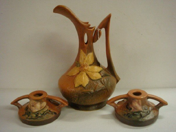 20: ROSEVILLE Magnolia Candlesticks and Clematis Ewer:
