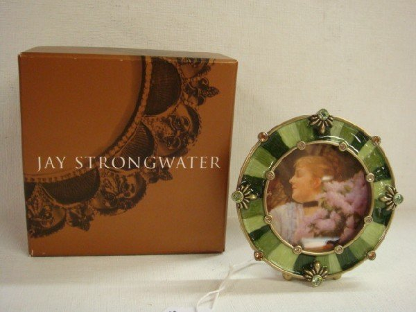 21: JAY STRONGWATER Small Round Picture Frame with Box: