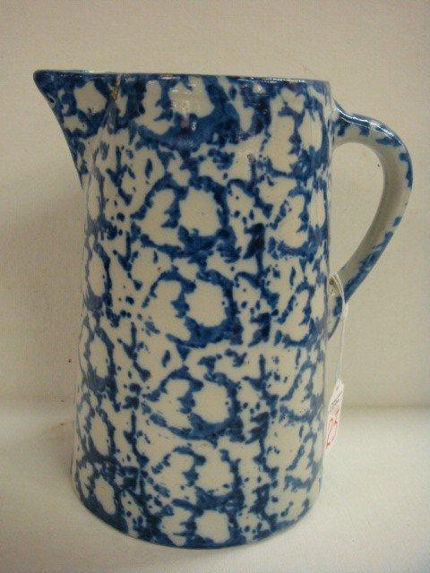 23: Vintage Blue and White Spongeware Pitcher: