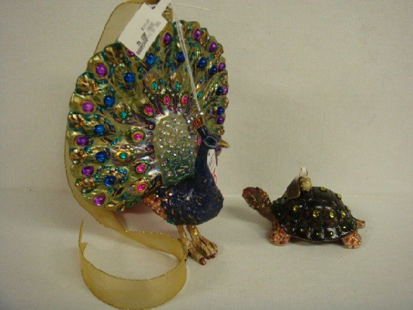 183: JAY STRONGWATER Glass Peacock and Turtle Ornaments