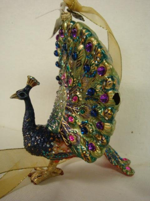 183: JAY STRONGWATER Glass Peacock and Turtle Ornaments - 2
