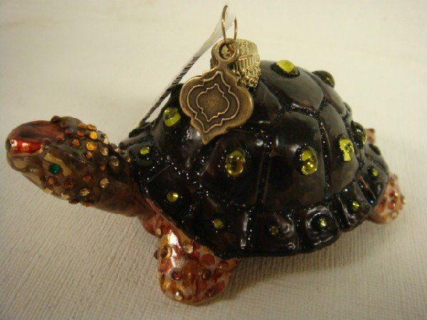 183: JAY STRONGWATER Glass Peacock and Turtle Ornaments - 4