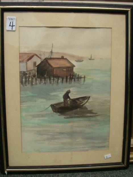 4: Signed KAPI Fisherman Watercolor: