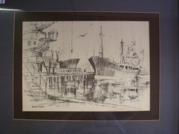 7: Pencil Signed BARCLAY SHEAKS Harbor Print Scene: