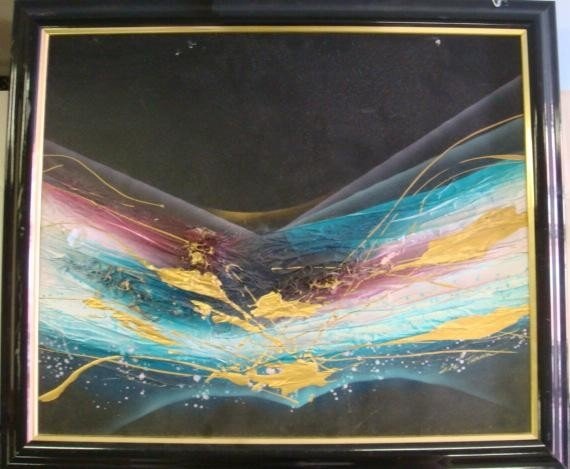 13: Signed EVE TURNER Mixed Medium Abstract on Canvas: