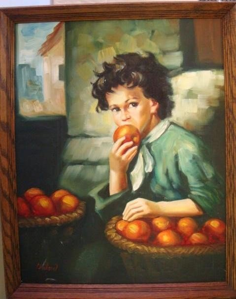 18: Signed NEILSON Boy with Apples Oil on Canvas: