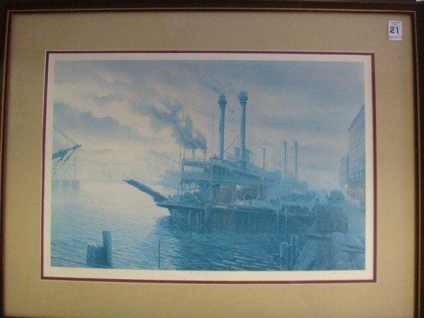 21: Signed H T BECKER Limited Edition Steamboat Print: