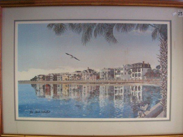 23: Signed MONTFORT Charleston Pastel Houses Print: