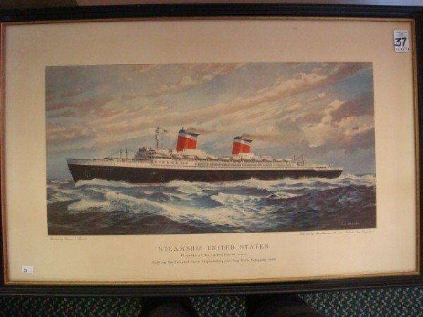37: T C SKINNER Print of Steamship United States: