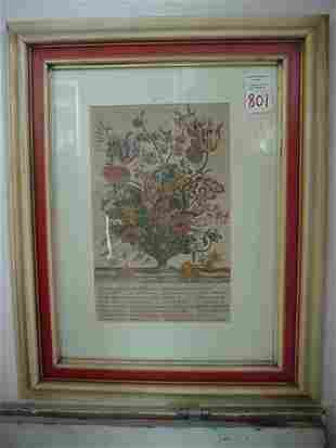 Three Framed Flowers of the Month Prints