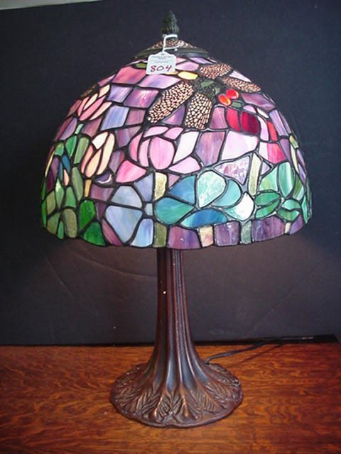804: Tiffany Style Stained Glass Dragon Fly L