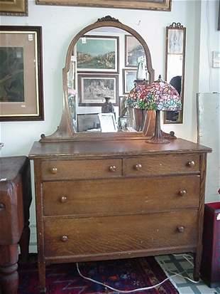 Oak Dresser with Shield Mirror: Carved C