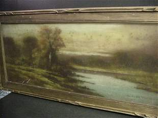 Early Century Framed Pastoral Chalk Draw