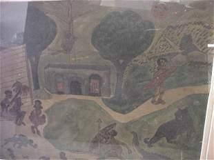 Folk Art, African, Primitive Watercolor