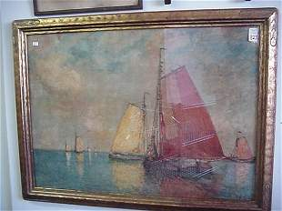 Print on Board of Dutch Sailboats by Sub