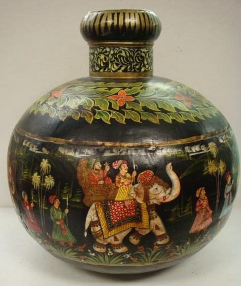 1: Hand Painted Bulbous Scenic Tin Asian Vase: