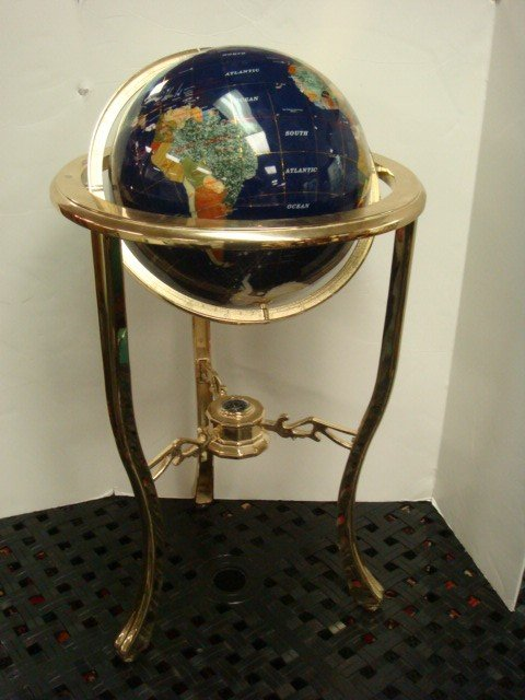 1A: Mother of Pearl Gemstone Globe on Brass Stand: