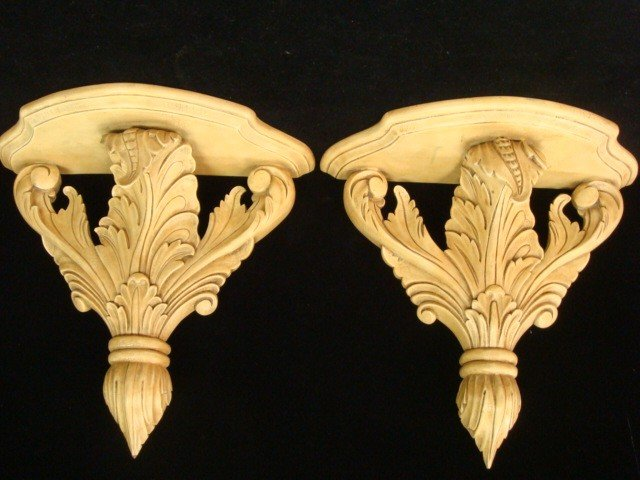 3: Pair of Hand Carved MAITLAND-SMITH Wooden Sconces: