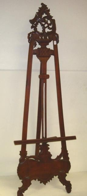 8: Mahogany Carved Cartouche Crest 6' Adjustable Easel: