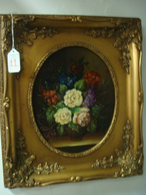 11: Hand painted Oil on Board Floral Still Life Paintin