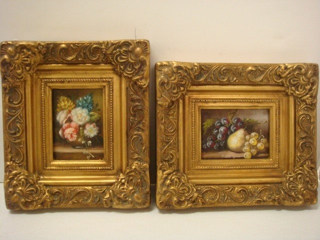 12: 2 Floral and Fruit Still Life Oil on Board: