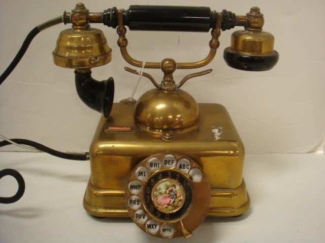 13: Brass Rotary Dial Decorator Desk Phone: