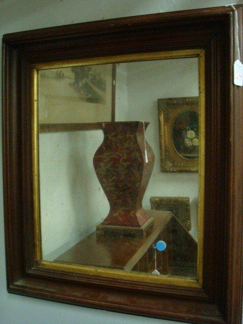 14: Plate Glass Mirror in Walnut Frame: