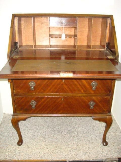 16: Mahogany Drop Front Queen Anne Style Ladies Desk: