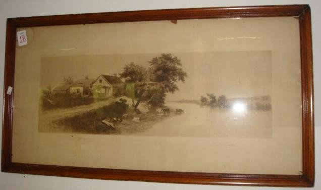 18: CHARLES GONDEL Landscape Engraving with Cows: