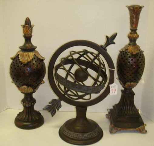 19: Metal Armillary Sphere and 2 Decorator Pieces: