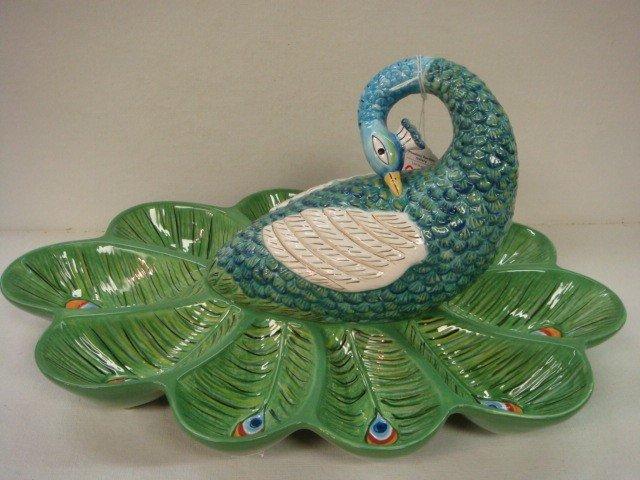 21: ARTESIAN TRACY PORTER Hand painted Peacock Server:
