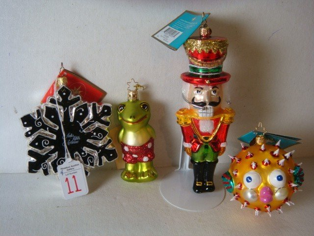 11: 4 Hand-blown Handpainted Glass Ornaments, 3 RADKO: