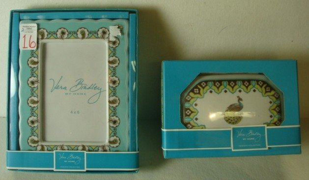 16: VERA BRADLEY Peacock Collection Frame and Box: