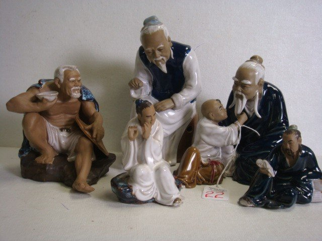 22: Five Handpainted and Glazed Chinese Mud Figurines: