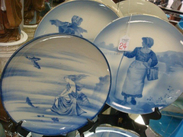 24: Two HB France & One Unmarked Blue and White Plates: