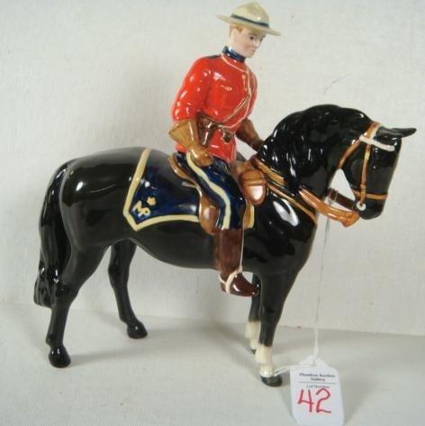42: BESWICK Porcelain Horse, Mountie on Black Horse: