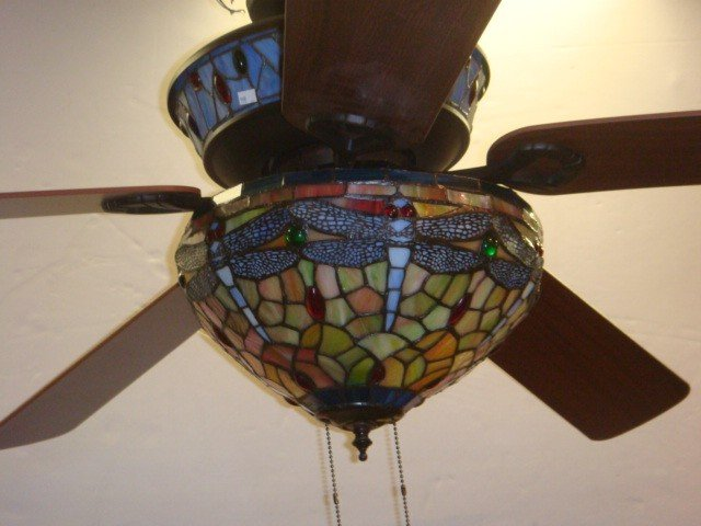 80 Dragonfly Design Stained Glass Ceiling Fan
