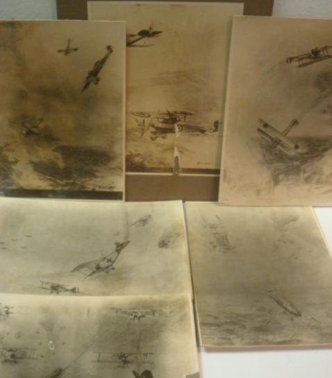 503: 6 Mounted Drawings of World War I Aerial Combat: