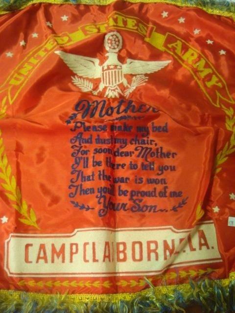 516: Mother's Pillow Cover, Camp Claiborne LA., CA 1940