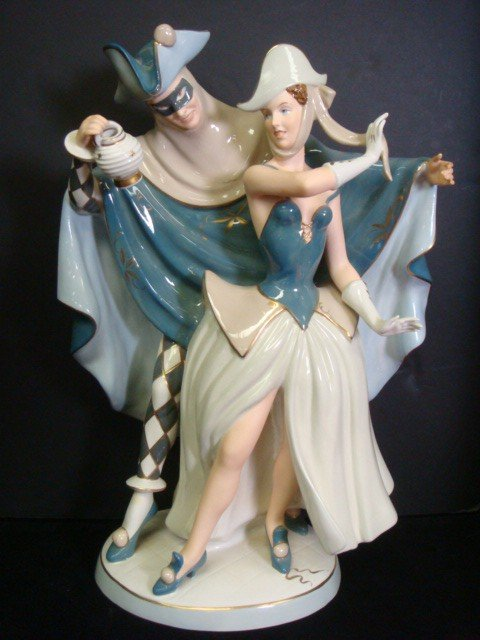 """4: 20""""T ROYAL DUX """"The Masquerade"""" 1950's Figural Group"""