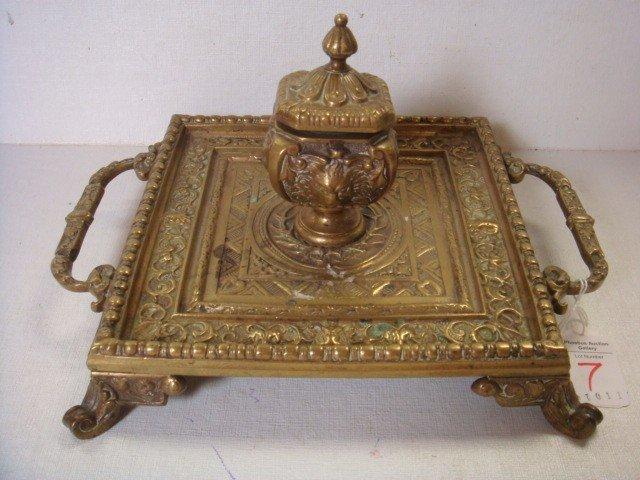 7: 1910 Art Nouveau Figural Brass Inkwell:
