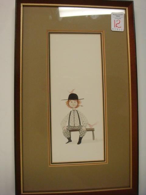 12: Signed P. Buckley Moss Original Watercolor: