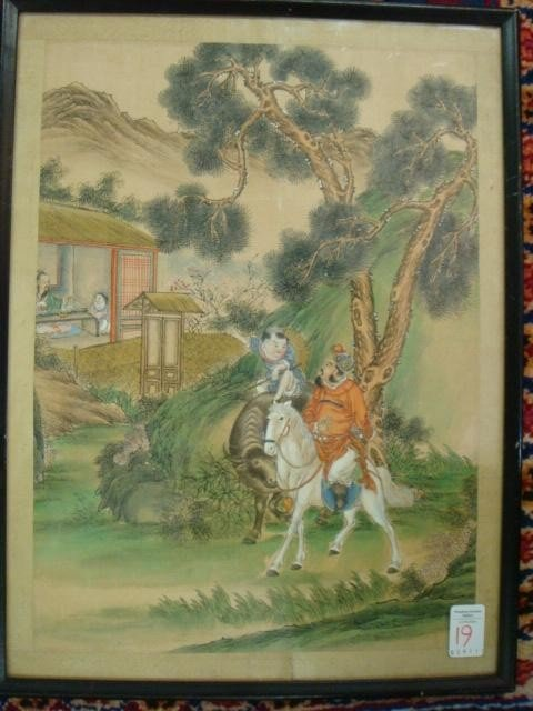 19: 19th C Chinese Figural Painting on Silk: